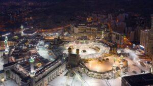 Vista aérea de la Gran Mezquita de La Meca durante la pandemia de coronavirus en Arabia Saudí