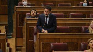 El portavoz adjunto de Ciudadanos en el Congreso de los Diputados, Edmundo Bal, interviniendo desde su escaño en el Pleno de la Cámara Baja.