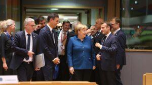 Pedro Sánchez, Angela Merkel, Emmanuel Macron