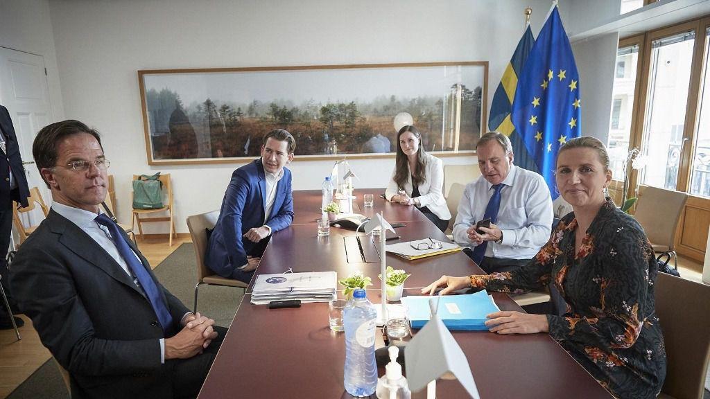 El primer ministro holandés, Mark Rutte; el canciller austriaco, Sebastian Kurz, la primera ministra finlandesa, Sanna Marin; la primera ministra danesa, Mette Frederiksen, y el priomer ministro sueco, Stefan Loefven