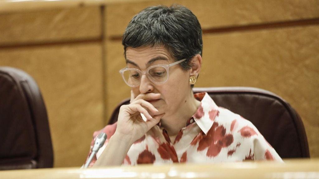 La ministra de Asuntos Exteriores, Unión Europea y Cooperación, Arancha González Laya, durante una sesión de control al Gobierno en el Senado, en Madrid (España)
