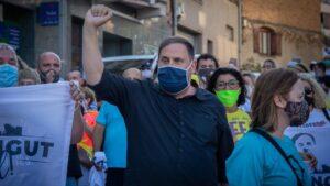 El líder de ERC, Oriol Junqueras, es homenajeado por su partido y sus vecinos en su pueblo el día en el que ha alcanzado -como otros tres presos condenados por la sentencia del procés- su clasificación de preso en tercer grado, en régimen de semilibertad