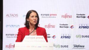 La ministra de Industria, Comercio y Turismo, Reyes Maroto, durante su intervención en un Desayuno Informativo Europa Press celebrado en Espacio Villanueva, Madrid (España)