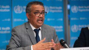 El director general de la Organización Mundial de la Salud (OMS), Tedros Adhanom Ghebreyesus, durante la rueda de prensa diaria sobre el coronavirus