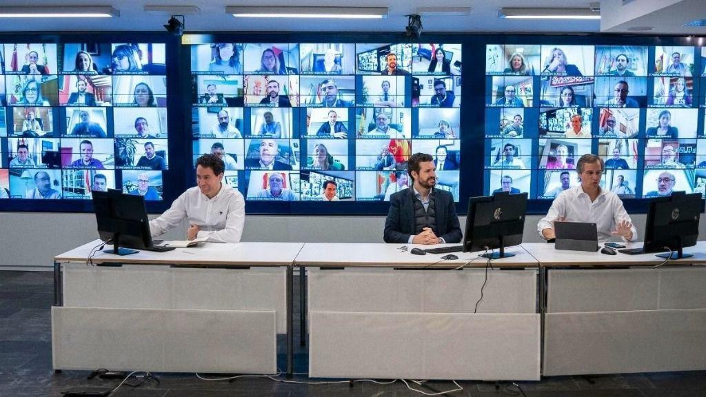 Reunión de Teodoro García Egea, Pablo Casado y Antonio González Terol con alcaldes del PP