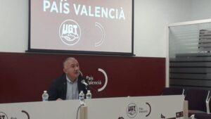 El secretario general de UGT, Pepe Álvarez, en rueda de prensa en València