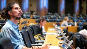 El diputado y Secretario de Organización de Podemos, Alberto Rodríguez, en el Congreso