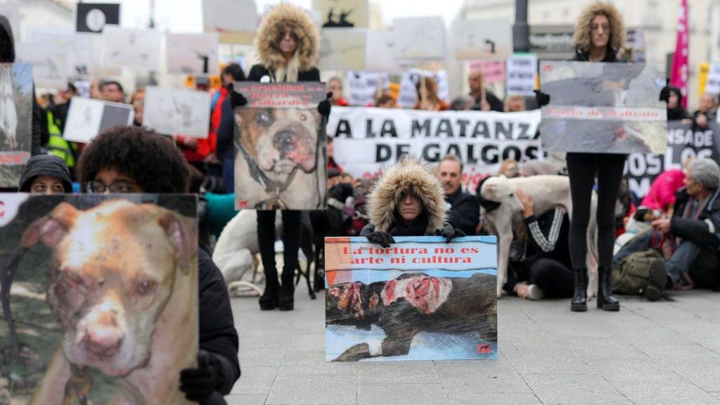 """Participantes en la manifestación en Madrid """"contra la caza, el maltrato, el abandono y la matanza"""" de perros"""
