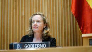 La vicepresidenta tercera del Gobierno y ministra de Asuntos Económicos y Transformación Digital, Nadia Calviño, comparece ante la Comisión para la Reconstrucción Social y Económica.