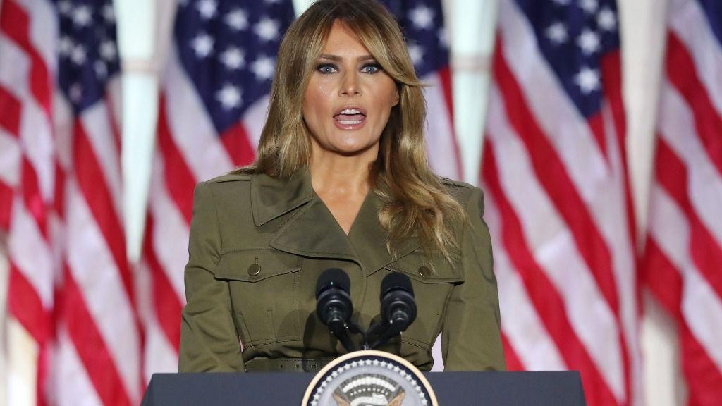 La primera dama de Estados Unidos, Melania Trump, durante su intervención en la Convención Republicana