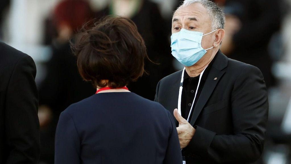 El secretario general de UGT, Pepe Álvarez, a su llegada a la ceremonia de Estado para homenajear a las víctimas de la pandemia de Covid