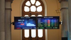 Valores de la Bolsa de Madrid (España), a 30 de julio de 2020.