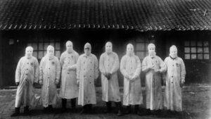 Manchuria (China) en 1911. La Tercera Pandemia de Peste golpeó el mundo entre 1894 y 1959. Fue la primera en ser fotografiada. Institut Pasteur