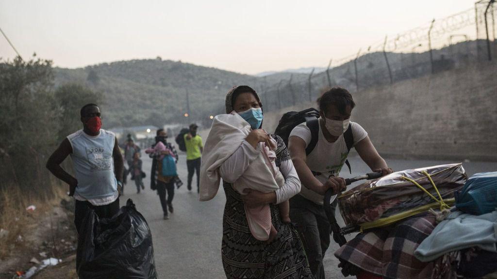 Incendios en el campo de refugiados griego de Moria