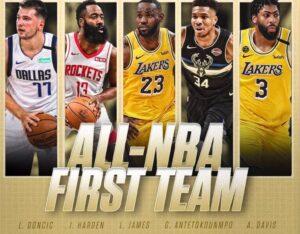Imagen anunciadora del mejor quinteto de la temporada 2019-2020 en la NBA