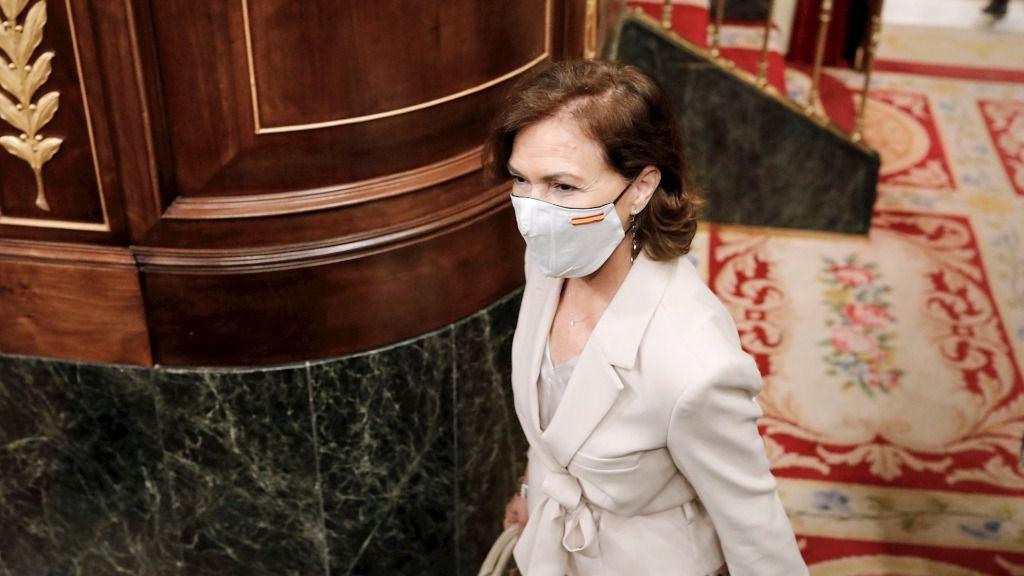 La vicepresidenta primera del Gobierno, Carmen Calvo, a su llegada a la penúltima sesión plenaria en el Congreso de los Diputados.