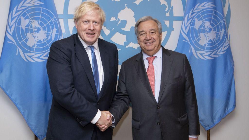 El presidente de Reino Unido, Boris Johnson, y el secretario general de Naciones Unidas, António Guterres