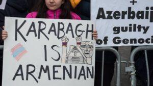 Manifestación de la comunidad armenia en Estados Unidos frente a la sede de Naciones Unidas, en Nueva York