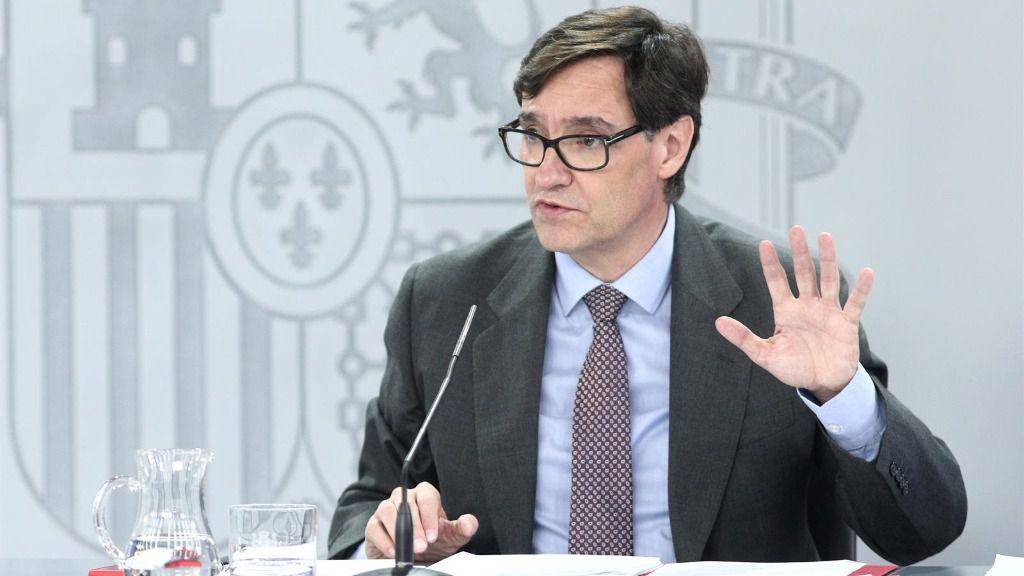 El ministro de Sanidad, Salvador Illa, comparece en rueda de prensa posterior al Consejo de Ministros celebrado en Moncloa, Madrid (España), a 14 de julio de 2020.