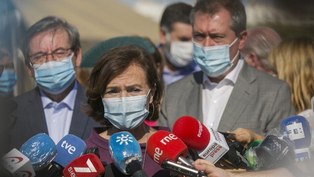 Carmen Calvo, este viernes, en Sevilla