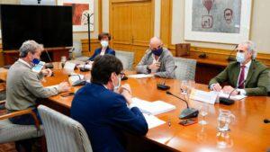 Salvador Illa, Fernando Simón, Enrique Ruiz Escudero, Antonio Zapatero y Elena Andradas