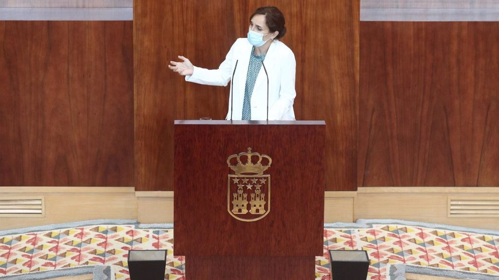 La líder regional de Más Madrid, Mónica García, interviene durante la segunda jornada del Pleno del Debate del Estado de la Región en Madrid.