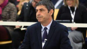 El exmayor de los Mossos d'Esquadra, Josep Lluís Trapero, durante la primera jornada del juicio en el que se le acusa de rebelión por los hechos ocurridos durante el 1-O, en la Audiencia Nacional