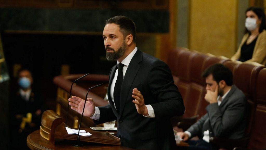 El líder de VOX, Santiago Abascal, interviene para exponer la posición de su grupo parlamentario sobre la solicitud de autorización de prórroga del estado de alarma.