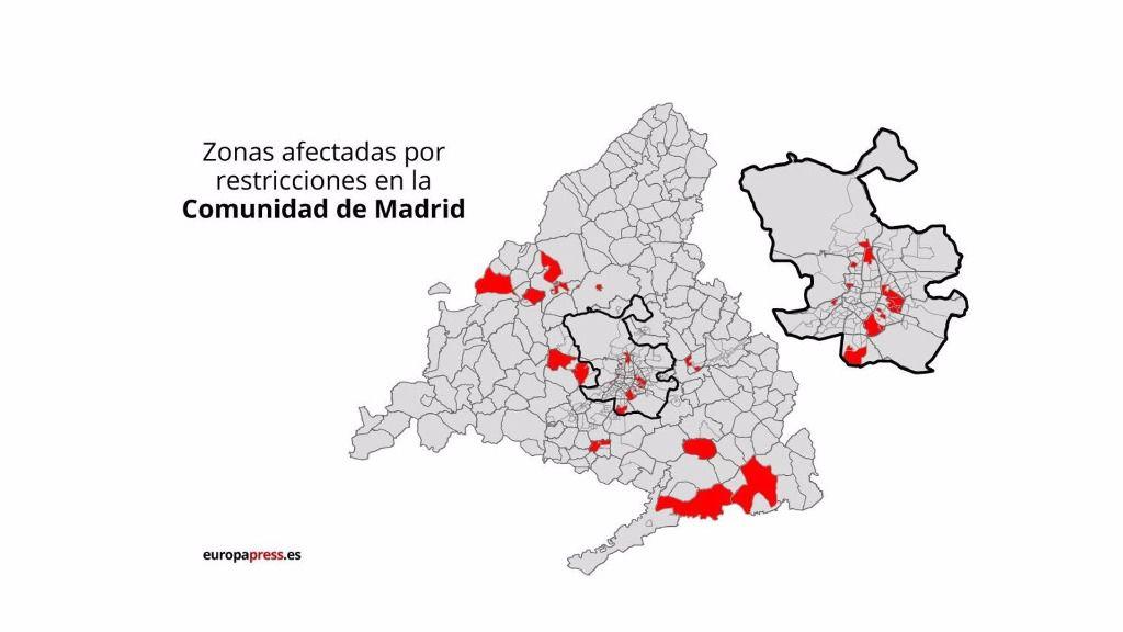 Zonas afectadas por restricciones en la Comunidad de Madrid desde el lunes