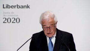 El presidente no ejecutivo de Liberbank, Pedro Manuel Rivero Torre, en la junta de accionistas celebrada el 28 de octubre de 2020
