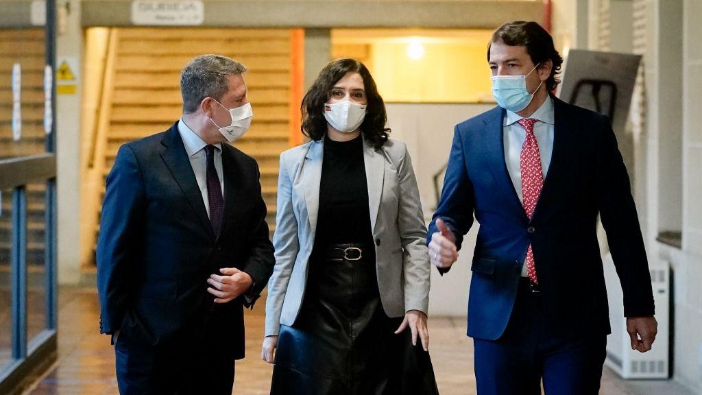 Isabel Díaz Ayuso, Alfonso Fernández Mañueco y Emiliano García-Page