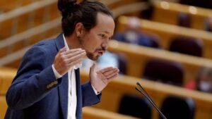 El vicepresidente segundo del Gobierno y ministro de Derechos Sociales y Agenda 2030, Pablo Iglesias, interviene durante una sesión de control al Gobierno en el Senado