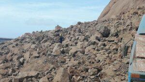 Las unidades caninas de la asociación AEA realizan labores de rastreo entre los escombros