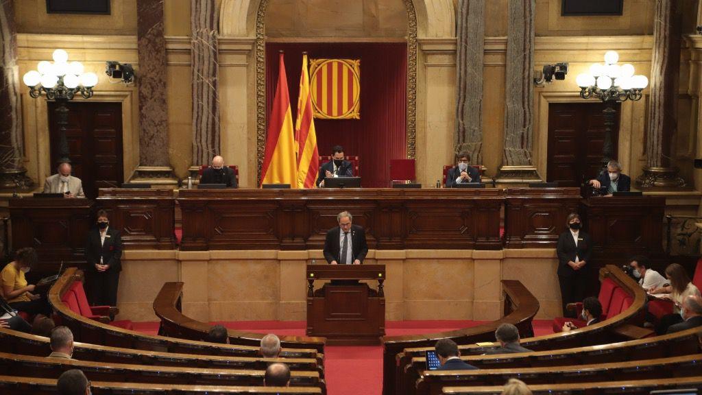 El presidente de la Generalitat, Quim Torra, en el pleno del Parlament sobre la monarquía