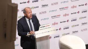 El ministro de Justicia, Juan Carlos Campo, durante uno de los Desayunos Informativos de Europa Press, en Madrid