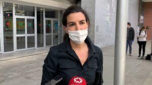 Rocio Monasterio, portavoz de Vox en la Asamblea de Madrid, en el acto de clausura del hospital de Ifema