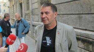 El coordinador de EH Bildu, Arnaldo Otegi, en declaraciones a los medios