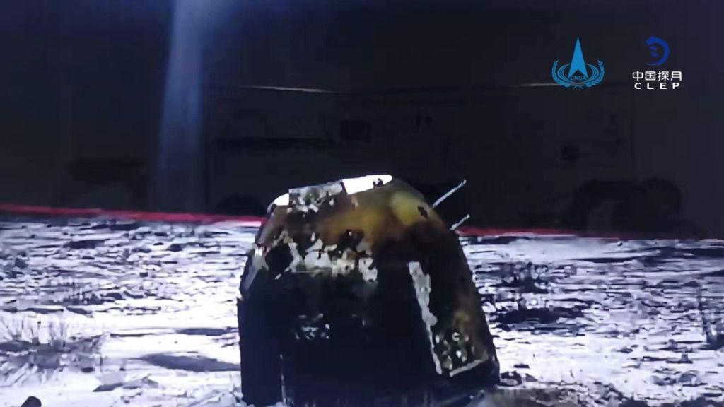 Imagen del retornador de la misión Chang'e 5 tras volver a la Tierra