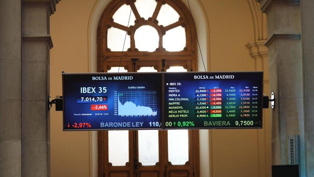 Valores de la Bolsa de Madrid (España), a 30 de julio de 2020. ibex 35