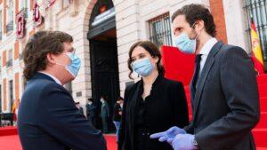Pablo Casado, Isabel Díaz Ayuso y José Luis Martínez Almeida