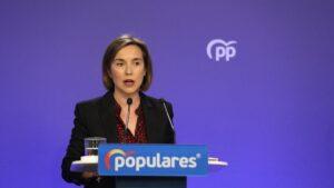 La portavoz del PP en el Congreso, Cuca Gamarra, durante una rueda de prensa tras la reunión del Comité de Dirección del partido, en Madrid (España) a 2 de marzo de 2020.