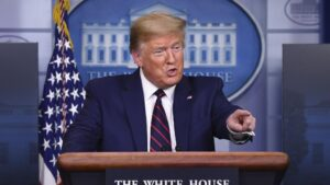 El presidente de Estados Unidos, Donald Trump, durante la rueda de prensa del grupo de trabajo del coronavirus en la Casa Blanca