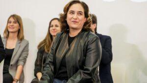 La alcaldesa de Barcelona, Ada Colau, durante el encuentro confederal de Unidas Podemos