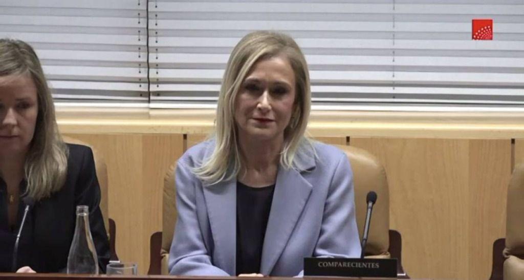 Cristina Cifuentes durante su comparecencia en la comisión que investiga el caso máster