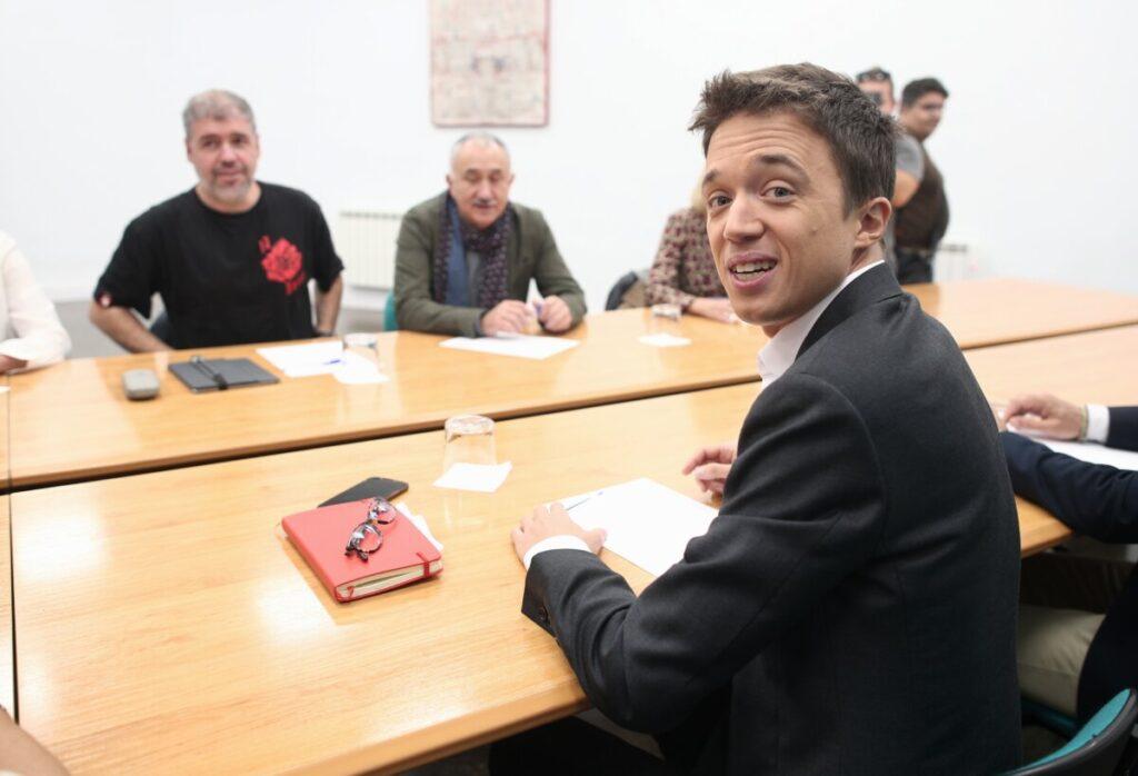 El líder de Más País, Íñigo Errejón durante su reunión con el secretario general de CCOO, Unai Sordo y el secretario general de UGT, Pepe Álvarez - Autor: Eduardo Parra / Europa Press