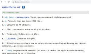 Archivo - Entrada del diccionario para 'cuarentena' - RAE - Archivo