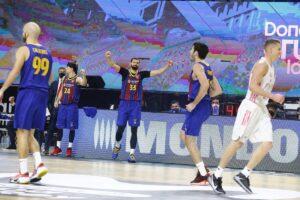 Mirotic celebra la victoria del Barça