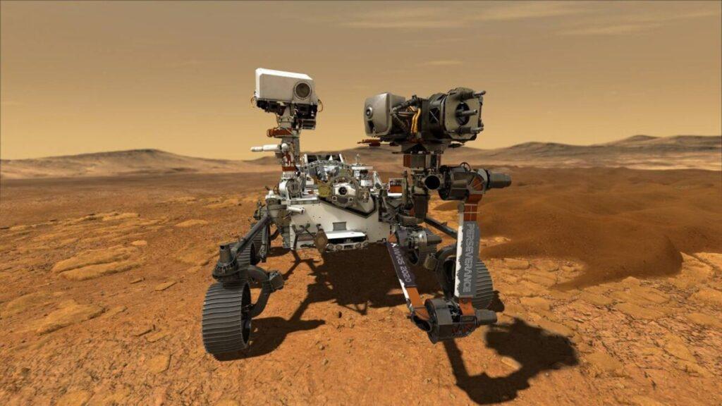 Ilustración del rover Perseverance operando en la superficie de Marte. / NASA/JPL-Caltech