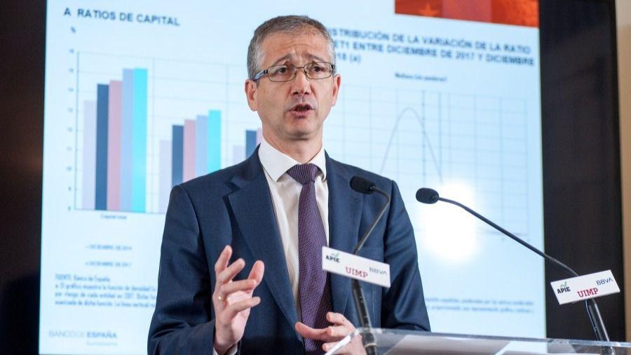Pablo Hernández de Cos, gobernador del Banco de España, durante su intervención en el Curso de Economía organizado por APIE en la UIMP