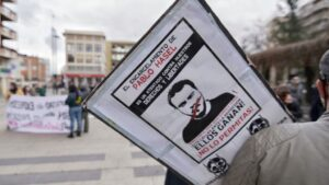 Una pancarta contra el encarcelamiento de Pablo Hasel